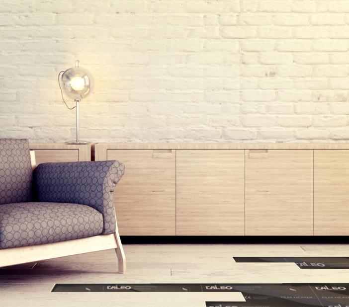 Chair in minimalist interior against white brick wall